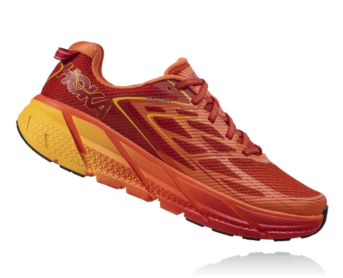 HOKA ONE ONE CLIFTON 3 M - Red Orange / Formula One / Gold Fusion