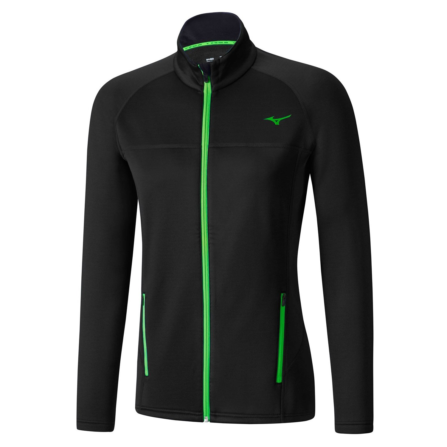 Mizuno Куртка Breath Thermo Fleece Jacket M - Black / Green Gecko