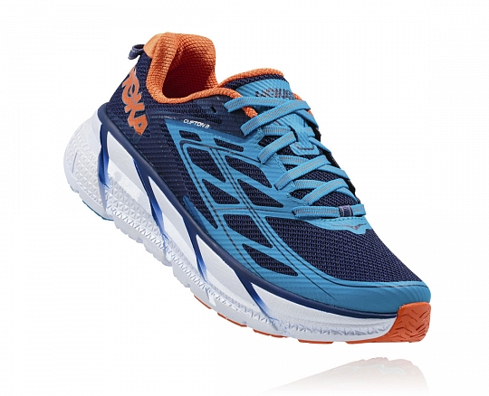 HOKA ONE ONE CLIFTON 3 M - Medieval Blue / Red Orange