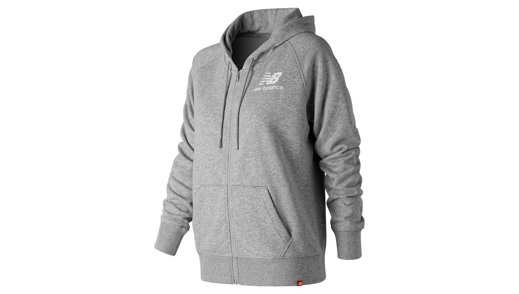Толстовка New Balance ESSENTIALS STACKED LOGO FZ HOODIE W - Grey