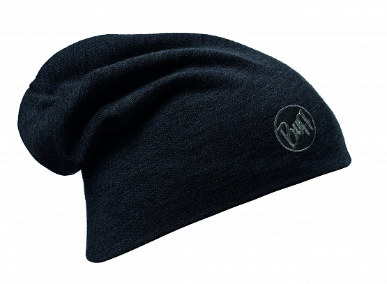 Buff Шапка BUFF HEAVY MERINO WOOL LOOSE HAT SOLID BLACK